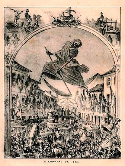 Charge de Angelo Agostini, na Revista Ilustrada, mostra febre amarela atacando foliões do Rio de Janeiro no Carnaval de 1876.