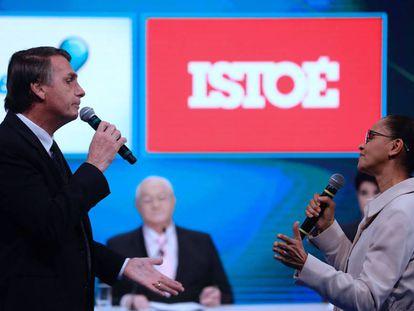 Jair Bolsonaro e Marina Silva durante o debate.