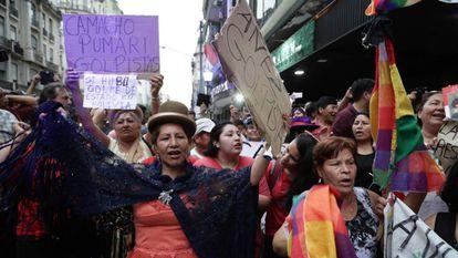 Manifestação a favor de Evo Morales, em dezembro, em Buenos Aires.