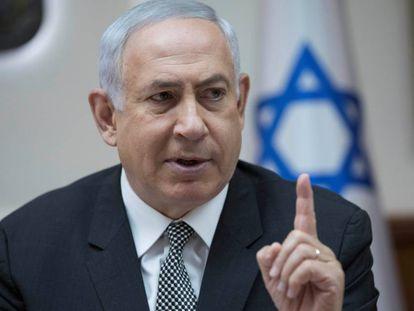 O primeiro-ministro de Israel, Benjamin Netanyahu, em uma reunião do Governo em Jerusalém.