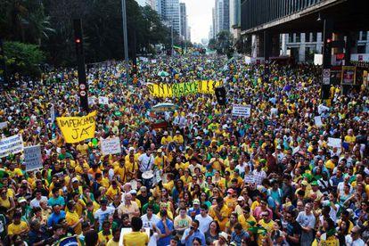 Manifestação na avenida Paulista no dia 16 de agosto.