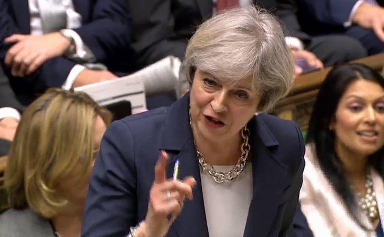 Theresa May na Câmera dos Comuns o 15 de março.