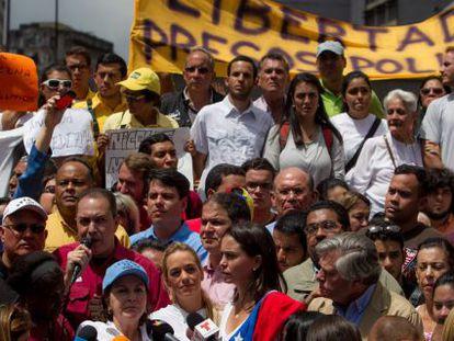 Manifestação contra a prisão de Ledezma, na sexta-feira, em Caracas.