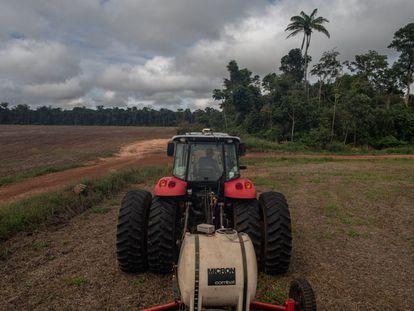 Um trator da fazenda Minuano, No fundo, uma das parcelas da vegetação que lei obriga a preservar nesta zona de Amazonia.Apenas 20% da  propriedade é de área cultiváveis.