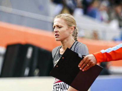 Stepanova, no campeonato europeu de atletismo, em Amsterdã.