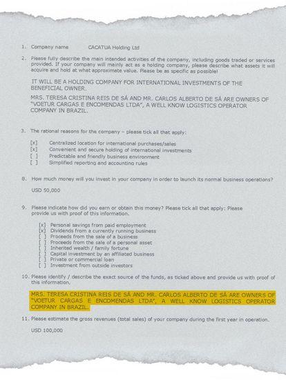 Documento que comprova ligação entre a 'offshore' e a VTCLog