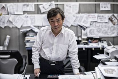 Zhang Yue, presidente da BSB, posa em seu escritório.