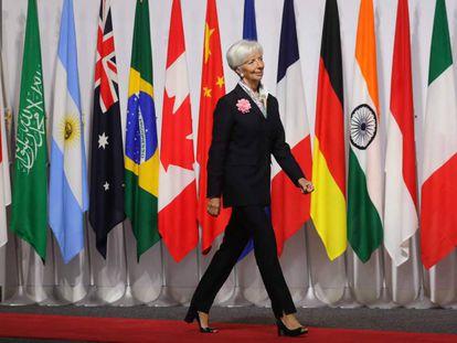 Christine Lagarde ao chegar à cúpula do G-20 em Osaka.