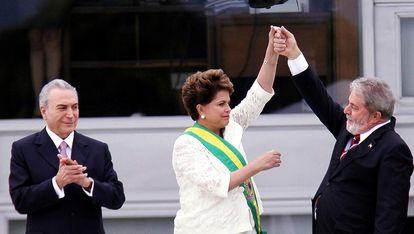 Posse de Dilma Rousseff, retratada no documentário 'Democracia em Vertigem'.