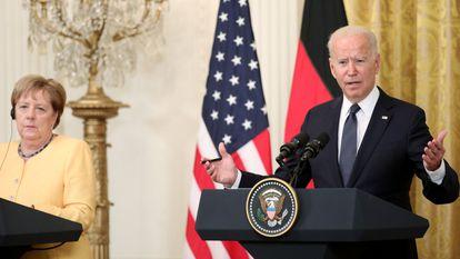 Angela Merkel e Joe Biden na Casa Branca nesta quinta-feira.