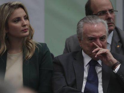 Temer ao lado da primeira-dama, Marcela, no dia 13 no Rio.