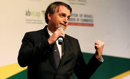 Bolsonaro discursa em evento com empresários durante visita a Jerusalém no dia 2 de abril