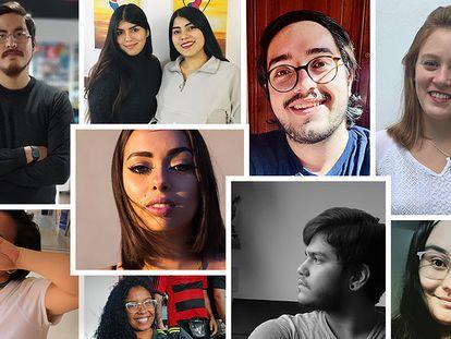 Montagem dos jovens da Argentina, Chile, Brasil, Peru, Colômbia, México, Guatemala e Paraguai entrevistados para a reportagem.