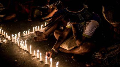 Protesto contra o genocídio indígena em abril, em Brasília.