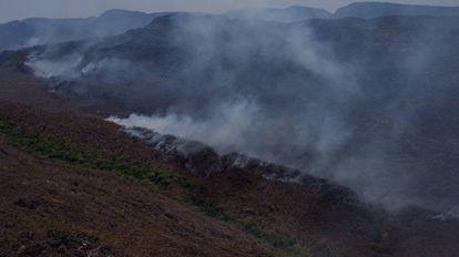 Incêndio florestal na Chapada dos Veadeiros