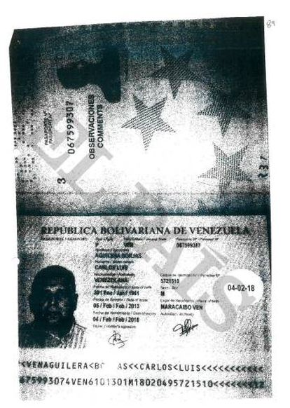 Passaporte fornecido pelo ex-chefe da espionagem venezuelana ao BPA para abrir sua conta em 2009.
