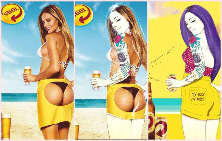Um dos cartazes modificados para a campanha. Leste corre a cargo da ilustradora Camila Do Rosario