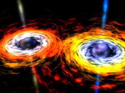 Ilustração mostra dois buracos negros prestes a se fundirem