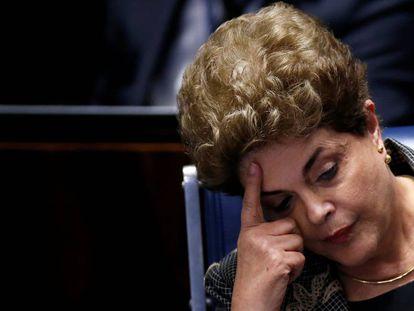 Dilma no dia de seu discurso de defesa.