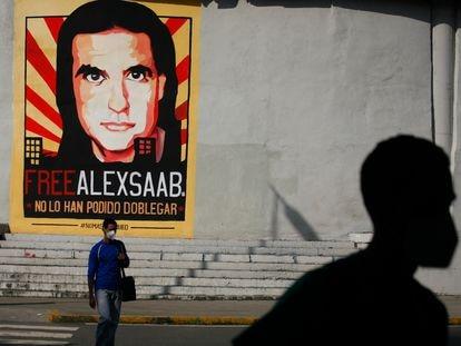Cartaz de apoio a Alex Saab em Caracas, em setembro passado.