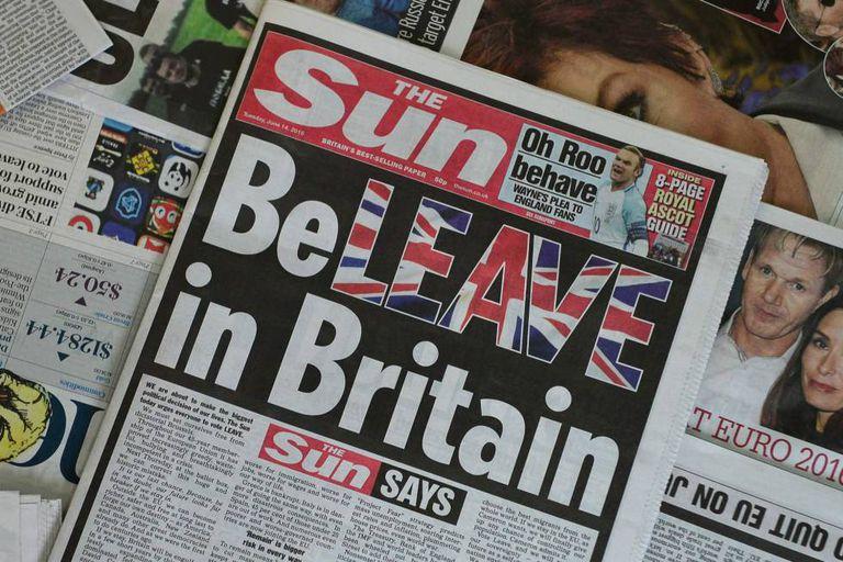 Capa de 14 de junho do jornal 'The Sun', o mais vendido do Reino Unido.