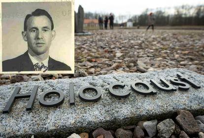 Uma imagem de Friedrich Karl Berger sobreposta a uma foto do campo de concentração de Buchenwald, na Alemanha.