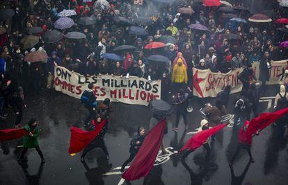 Manifestação contra a reforma trabalhista do Governo socialista francês em 31 de março de 2016 em Paris.