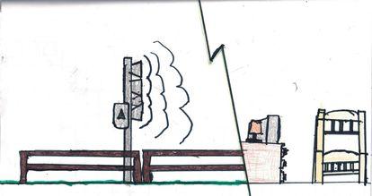 Desenho de uma criança de Brumadinho que criou a sua própria sirene, na expectativa de que se for necessário, ela irá tocar.