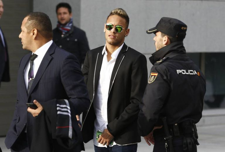 Neymar, no Tribunal Nacional, em Madri.