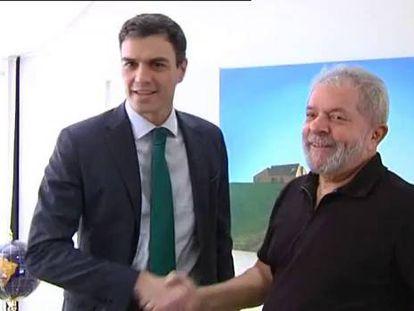 Pedro Sánchez e Lula no Instituto Lula.