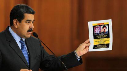 Maduro durante seu discurso pela televisão.