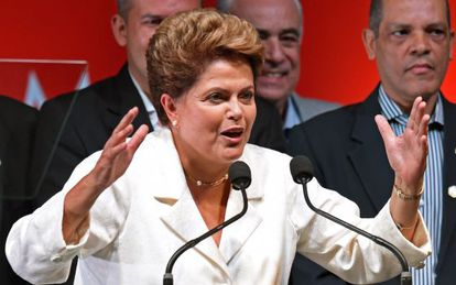 Dilma Rousseff durante discurso após a vitória.