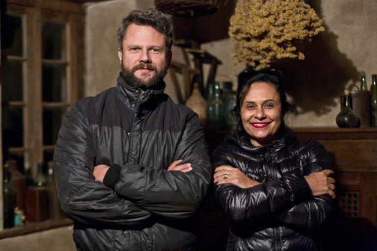 Selton Mello e Vânia Catani no set de 'O filme da minha vida'.