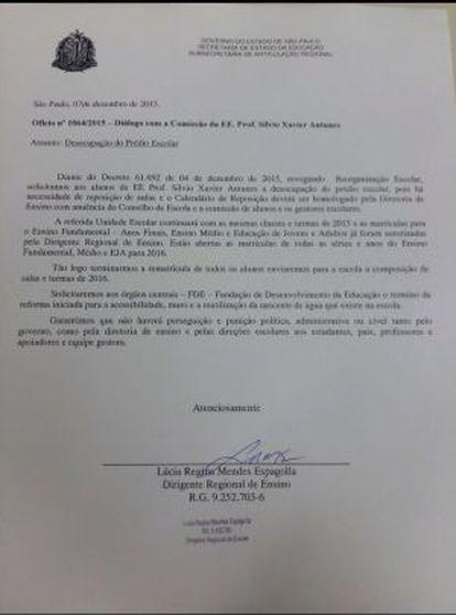 Carta de compromissos assinada pela dirigente de ensino foi condição para que a escola Sílvio Xavier fosse desocupada nesta semana.