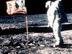 Edwin Aldrin, el 20 de julio de 1969, en la misión del 'Apolo 11', cuando el hombre pisó por primera vez la Luna.