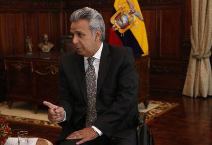 Lenín Moreno, presidente do Equador, durante entrevista do EL PAÍS no Palácio de Carondelet