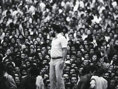 Lula durante greve na década de 1980.