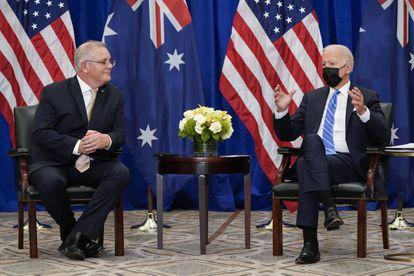 O presidente Biden e o primeiro-ministro australiano. Scott Morrison, em Nova York, na terça-feira.