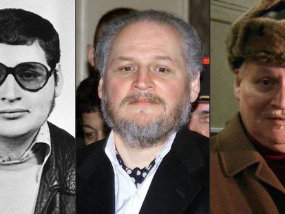 Ilich Ramirez Sánchez em foto dos anos 1970, na chegada ao Palácio de Justiça em 2001 e no mesmo tribunal em 2013.