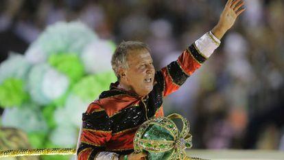O ex-jogador Zico, ao ser homenageado pela Imperatriz no Carnaval do Rio.