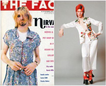 Kurt Cobain na capa da revista 'The Face', com um vestido. À direita, David Bowie com sapatos de salto