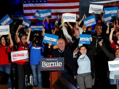 Bernie Sanders durante campanha em Las Vegas, Nevada.