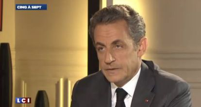 Imagem de Nicolas Sarkozy durante a entrevista que será emitida esta noite na França.