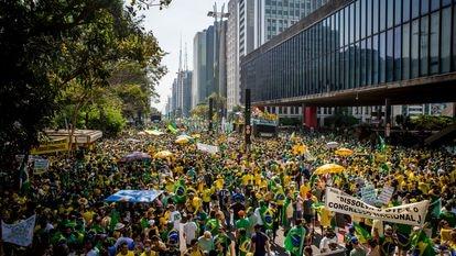 Apoiadores de Bolsonaro em frente ao Masp em ato do dia 7 de Setembro