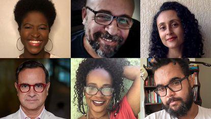 Olympio, o chefe da equipe de roteiristas afro-brasileiros (acima, ao centro) e Cuervo, diretor de VIS Américas (abaixo, à esquerda), com vários dos escritores.
