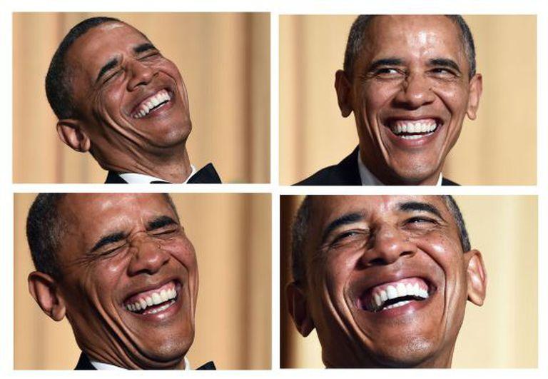Várias imagens do presidente Obama durante o jantar.