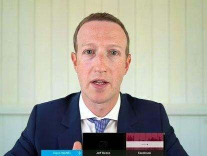 Mark Zuckerberg testemunha virtualmente perante o Congresso dos EUA.