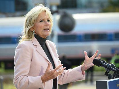 Jill Biden, durante um ato de campanha em Ohio.