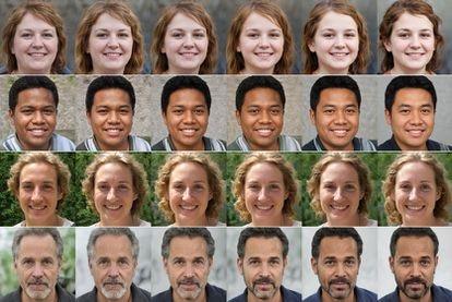 Quatro exemplos de séries de rostos usadas na pesquisa de Bogdan Kulynych que venceu a competição sobre o algoritmo do Twitter. Os rostos preferidos pelo algoritmo são os da direita, por quatro fatores: magreza, cor da pele, feminilidade e juventude.