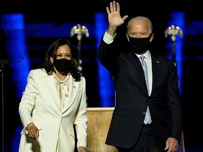 Joe Biden e Kamala Harris em Wilmington, Delaware.